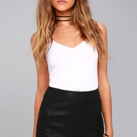 Free People Modern Femme Black Vegan Leather Mini Skirt