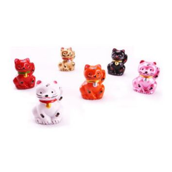 Stone Resin Lucky Kitty Cat Statue- Set of 6