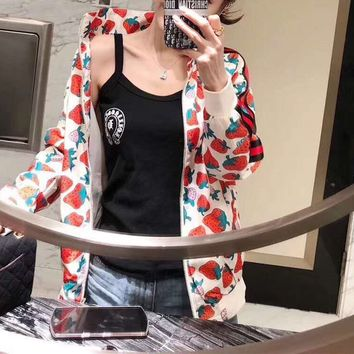 Loose Casual Pattern Simple Floral Strawberry Ethnic Long Sleeve Solid Color Chiffon Hoodie Coat
