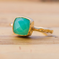 Gemstone Ring  18k Gold Vermeil Chrysoprase Bezel Ring by delezhen