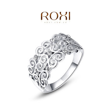 ROXI 2014 Free Shipping Platinum Plated Romantic Elegant Growing Ring Statement Rings Fashion Jewelry For Women Party Wedding