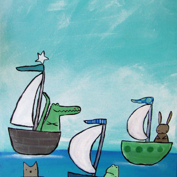 Nursery Decor, Baby Room, Whimsical Painting,  Kids Wall Art, Sailboats and Animals