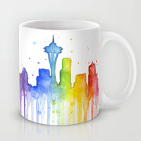 Seattle Rainbow Watercolor Mug by Olechka