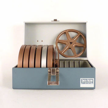 Vintage Movie 8mm Reel Box - Metal Movie Reals Industrial Smith-Victor Griffith Industries Monaco Blue ash Grey Gray White - 5 x 5 x 10
