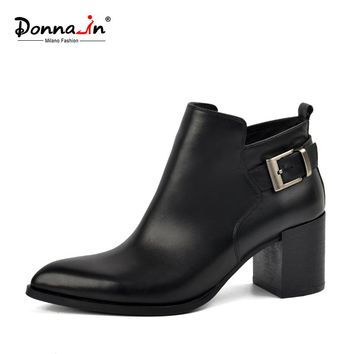 Donna-in genuine leather ankle boots elegant pointed toe thick heel ladies short boots women's leather boots twinter boots
