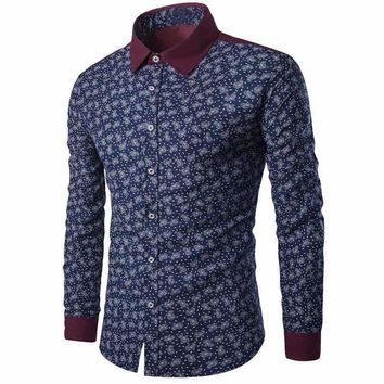 Mens Shirts Long Sleeve Printed Button-Up Slim Formal Floral