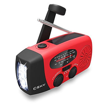 Upgraded Version Esky Solar Hand Crank Emergency Power Bank | With Radio, LED Flashlight and Micro Standard USB