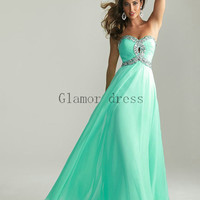 Hot sale Fashion Prom dresses    long evening dresses    cheap Green dress    Beautiful homecoming dress