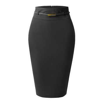 LE3NO Womens Fitted High Waisted Midi Skirt with Faux Leather Belt