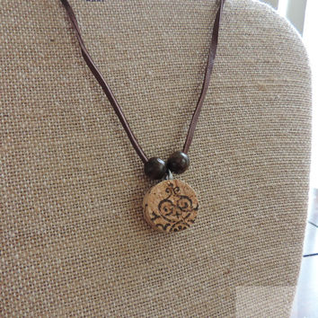 Wine cork necklace Wine jewelry Gifts for her Adjustable necklace (N041)