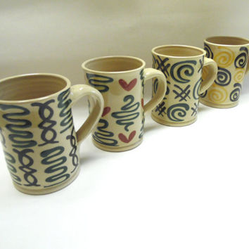Vintage Coffee Cups Handmade Geometric Swirl Pattern Set of 4 Green Cream Yellow Red