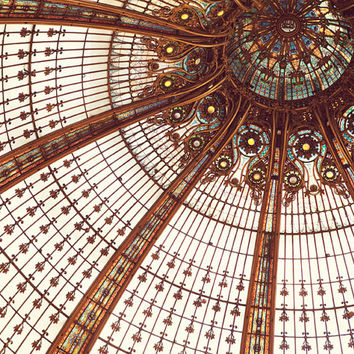 "Paris Art Nouveau, Paris Photography, Copper Paris Ceiling, Galeries Lafayette, Stained Glass, Paris Print, French Decor ""Splendor"""