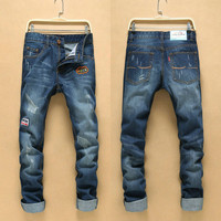 Korean Ripped Holes Slim Strong Character Pants Jeans [6541767043]