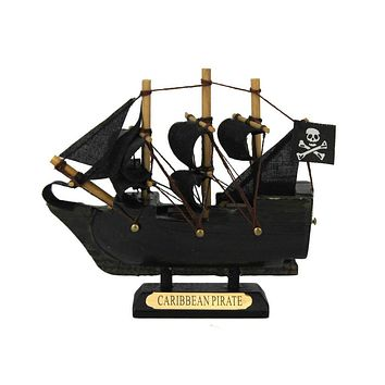 Wooden Caribbean Pirate Ship Model 4""