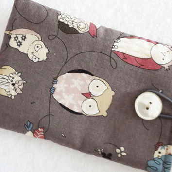 iPhone case, iPhone cover, iPhone sleeve, iPhone cozy, iPod cover, iPhone pouch, Padded Camera Cell Gadget Geek Owls Grey  - Étui rembourré