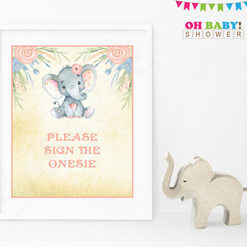 Please Sign the Onesuit, Elephant Baby Shower Activity, Please Sign our Guestbook Alternative, Baby Shower Printables Girl, Download ELWP