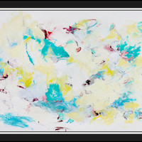 "Intuitive Expressionist Abstract Painting 24x18 Paper Yellow Blue ""There is No Separation"""