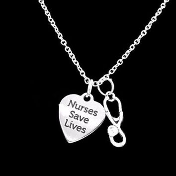 Nurses Save Lives Nurse Gift RN LPN NP Stethoscope Graduation Charm Necklace