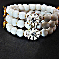 White Milk Glass Bead Bracelet Coil Wrap with Flowers with Rhinestones 1950s
