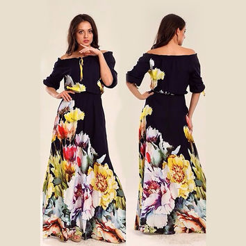 2016 Summer Maxi Floor Length Dress Sexy robe Floral Prints Off the Shoulder Long Dresse Vestido de festa longo Women slim dress
