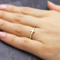 925 sterling silver gold vermeil sideways cross with twisted rope band ring