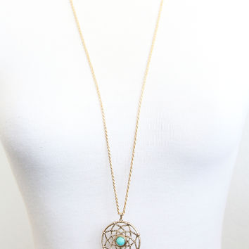 Golden Dreamcatcher Necklace - AQUA - Necklace