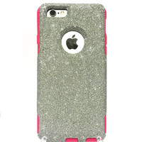 Custom iPhone 6 Plus Glitter Otterbox Commuter Cute Case,  Custom  Glitter Silver / Pink Otterbox Color Cover for iPhone 6 Plus