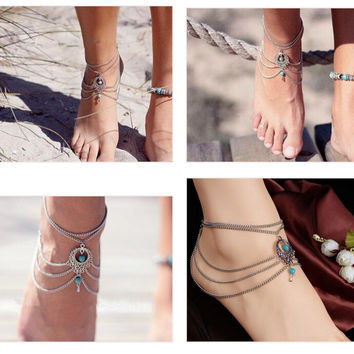 Boho Ethnic Turquoise Beads Anklet Chic Tassel Foot Chain Ankle Bracelet Body Jewelry Anklets For Women