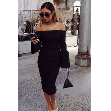 Style No. C206 off shoulder flare sleeve black sexy women dress