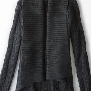 AEO Women's Shawl Collar Cable Knit Cardigan