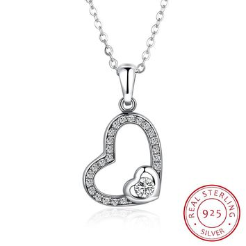 925 Silver New Stone Heart-Shaped Necklace