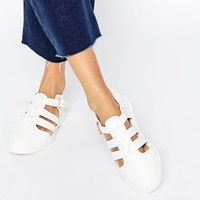 Daisy Street Pixie White Cut Out Flat Shoes