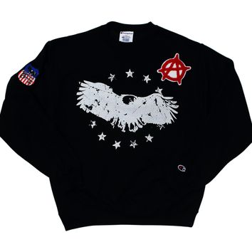 Champion Crew Neck Pullover Sweat Shirt - Champion x American Anarchy Brand - Black - Logo Shirt