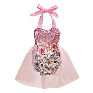 Baby Girl Romper Clothes Cute Baby Girls Sleeveless Tutu Skirted Rompers Jumpsuit Outfit