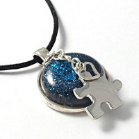 Autism necklace, puzzle piece jewelry, autism awareness jewelry, Autism awareness necklace, pendant, autism charm, blue resin necklace.