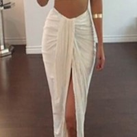 White Crop Tank Top Asymmetric Draped High Low Split Front Skirt Two Piece Bodycon Dress
