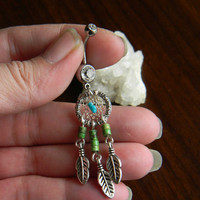 Southwestern Tribal Dream Catcher Belly Ring With Nacozari Turquoise in The Native Inspired Southwestern Tribal Boho Hippi Hipster Style