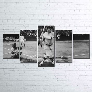 Yankees Babe Ruth Sultan of Swat Baseball Batter Home Run 5 Pcs Pieces Canvas