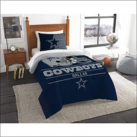 "Cowboys OFFICIAL National Football League, Bedding, """"Draft"""" Printed Twin Comforter (64""""x 86"""") & 1 Sham (24""""x 30"""") Set  by The Northwest Company"