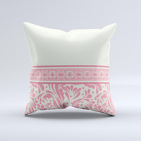 Pink & Tan Polka Dot Pattern V1 Ink-Fuzed Decorative Throw Pillow