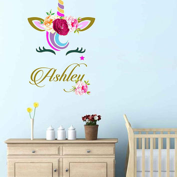 Unicorn wall decal Custom Name Vinyl Wall Decal Large Wall Decal Smiling Unicorn Decal Happy unicorn decal Unicorn lashes cik2272
