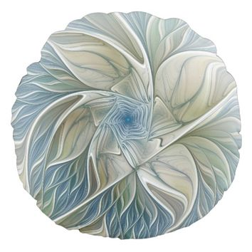 Floral Dream Pattern Abstract Blue Khaki Fractal Round Pillow