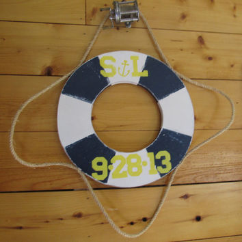 OOAK Reclaimed Wood Life Preserver Sign. Beach Sign. Nautical Sign. Lake Decor. Made to Order