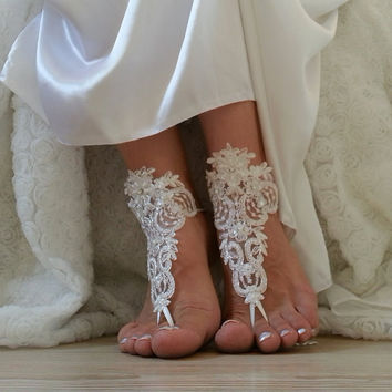 Free Ship  ivory  bridal bangle, sandals, beach wedding barefoot sandals, wedding bangles, anklets, bridal, wedding
