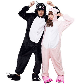 Unisex Pig Adult Pyjama Couple Pajamas Pijama Enteros Cosplay Cartoon Animal Flannel Hooded Onesuits Sleepwear For Women Men PJ12