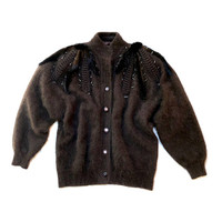 Vintage 1980s chocolate brown, knitted angora cardigan with shoulder beading and appliqué details