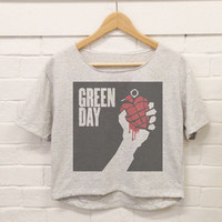 Green Day Crop Top Tshirt Woman Size M,L