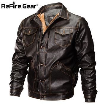 Trendy ReFire Gear Winter PU Leather Jacket Men Tactical Army Bomber Jacket Warm Military Pilot Coat Thick Wool Liner Motorcycle Jacket AT_94_13