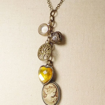 Cameo Brass Charms Chain Long Necklace 29 Inch Tree Heart  Faceted Yellow Stone Heart Clear Rhinestone Steampunk Renaissance Medieval Hippie