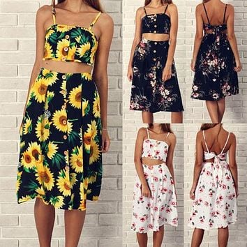 Women Set Summer 2pcs Backless Bandage Ladies Midi Skirts Fashion Floral Print Sleeveless Crop Tops High Waist Skirt Beach